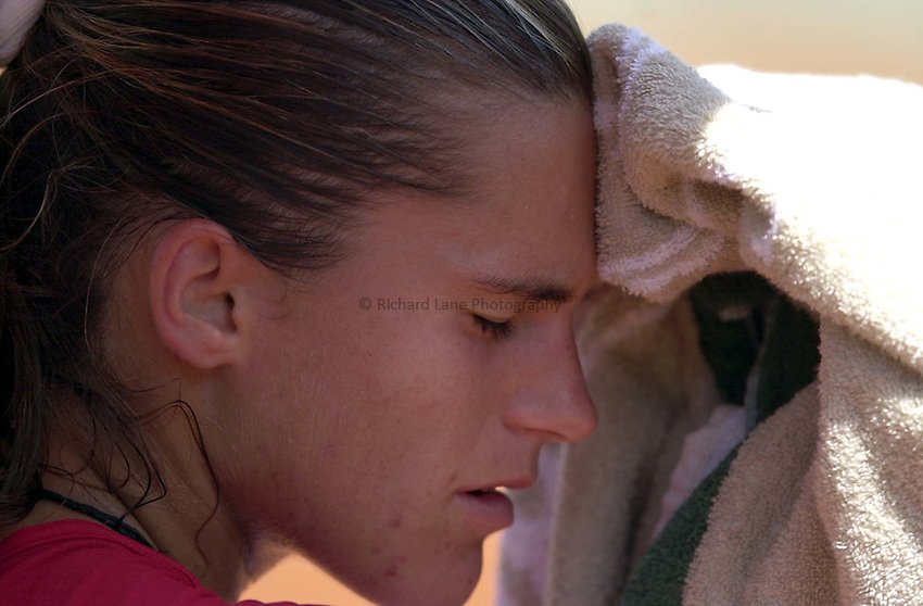 Photo. Richard Lane. .Roland Garros 2001, French Open Tennis. 28/5/2001.Amelie Mauresmo feels the pressure as she goes out in the first round to Jana Kandarr..