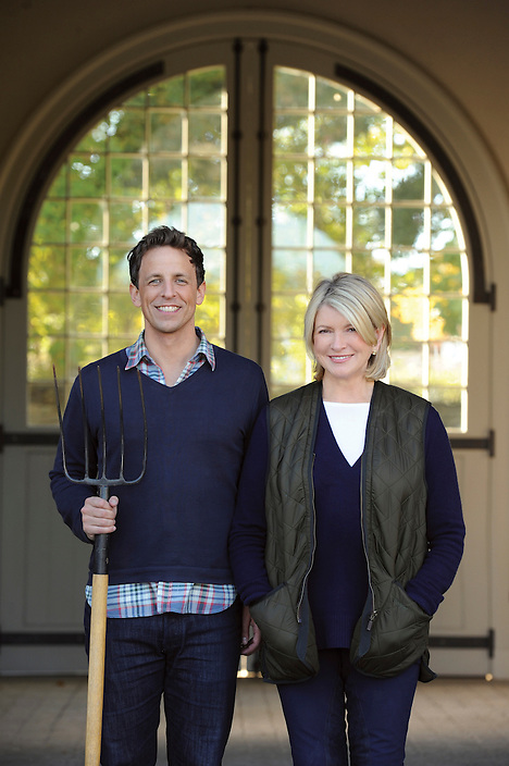 "Martha Stewart and Seth Meyers are pictured during the production of ""Men Who Make Us Laugh"" in Katonah, N.Y., on Sunday, October 10, 2010..Photos: David M. Russell/MSLO"