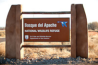 Entrance Sign at Bosque del Apache National Wildlife Refuge in New Mexico.