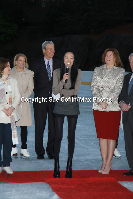 Terry and Tina Lundgren and Vera Wang at the 2012 Skating with the Stars - a benefit gala for Figure Skating in Harlem celebrating 15 years on April 2, 2012 at Central Park's Wollman Rink, New York City, New York.  (Photo by Sue Coflin/Max Photos)