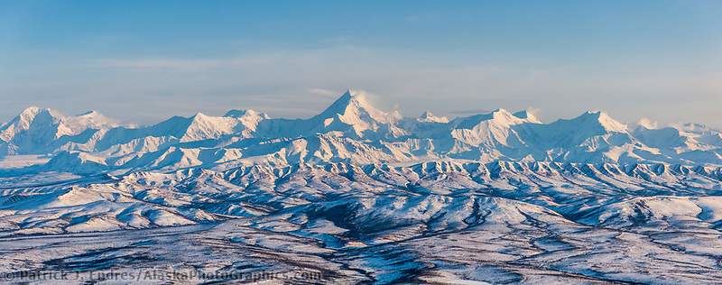 Mount Hayes, 13,832 feet (4,216 m), is the highest mountain in the eastern Alaska Range.  Mount Moffit at left, 13,020 ft (3,969 m) View looking southwest.