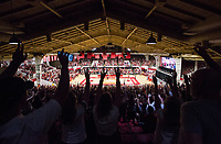 NWA Democrat-Gazette/BEN GOFF @NWABENGOFF<br /> Fans call the hogs Saturday, Oct. 5, 2019, during the annual Arkansas Red-White Game at Barnhill Arena in Fayetteville.