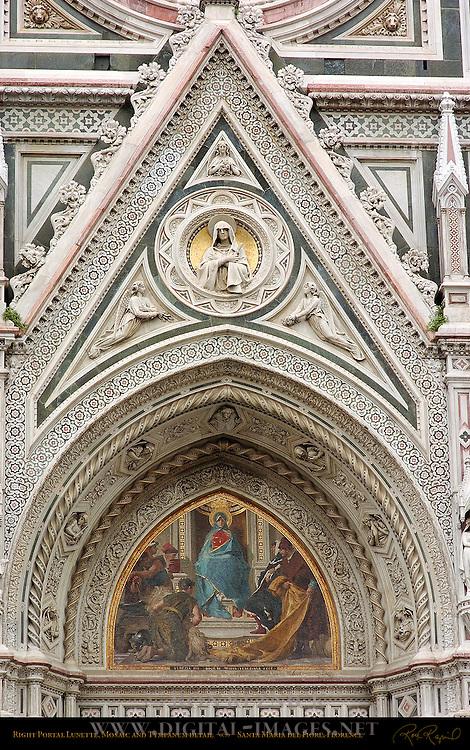 19th c Right Portal Detail Lunette Mosaic Barabino Tympanum Relief Madonna Dolorosa Gallori Santa Maria del Fiore Florence
