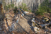 In 2011, Tropical Storm Irene washed out part of the Mt Tecumseh Trail in New Hampshire, and this is part of the rerouted section of trail in April 2012. After a trail inspection by Forest Service in June 2012 some of the stones that lined each side of the trail in this section were removed. Removing the stones gives the trail a more natural look and feel. This photo shows how this section looked before the stones were removed.