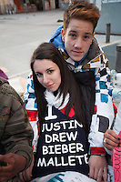 Rodrigo(18) and  Jessica (16) waiting since 3 days for the concert of Justin Bieber at the Palacio de los deportes in Madrid