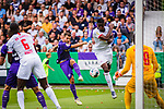 11.08.2019, Stadion an der Bremer Brücke, Osnabrück, GER, DFB Pokal, 1. Hauptrunde, VfL Osnabrueck vs RB Leipzig, DFB REGULATIONS PROHIBIT ANY USE OF PHOTOGRAPHS AS IMAGE SEQUENCES AND/OR QUASI-VIDEO<br /> <br /> im Bild | picture shows:<br /> Torschuss Kevin Wolze (VfL Osnabrueck #19), <br /> <br /> Foto © nordphoto / Rauch