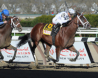 Gemologist and Javier Castellano win the Grade I Resorts World Casino New York City Wood Memorial over Alpha with Ramon A. Dominguez at Aqueduct, New York....4/7/12