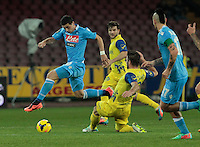 Blerim Dzemaili  in action during the Italian Serie A soccer match between SSC Napoli and Chievo  at San Paolo stadium in Naples, January 25, 2014