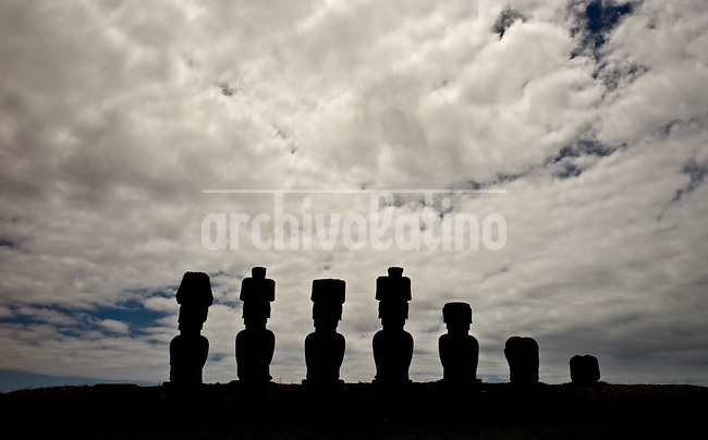 Rapa Nui, Easter island, oct 2011. In Rapa Nui, also called Easter Island, the  king of the original people is back after a hundred years RirorokoTuki Valentino, the new monarch, is  an old man who has made his living as a farmer and fisherman and  traveled the world as a ship&acute;s stowaways . <br />