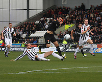 Lee Mair with a last ditch tackle on Anthony Watt in the St Mirren v Celtic Clydesdale Bank Scottish Premier League match played at St Mirren Park, Paisley on 20.10.12.