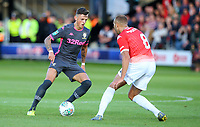 Leeds United's Ben White takes on Salford City's Lois Maynard<br /> <br /> Photographer Alex Dodd/CameraSport<br /> <br /> The Carabao Cup First Round - Salford City v Leeds United - Tuesday 13th August 2019 - Moor Lane - Salford<br />  <br /> World Copyright © 2019 CameraSport. All rights reserved. 43 Linden Ave. Countesthorpe. Leicester. England. LE8 5PG - Tel: +44 (0) 116 277 4147 - admin@camerasport.com - www.camerasport.com