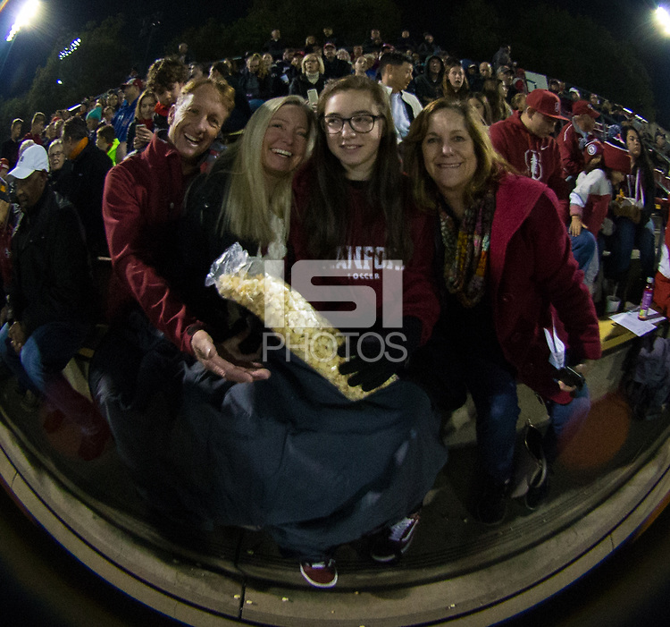 STANFORD, CA - November 9, 2018: Fans at Laird Q. Cagan Stadium. The top seeded Stanford Cardinal defeated the Seattle Redhawks 3-0 in the opening round of the NCAA tournament.