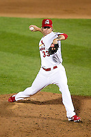 Michael Blazek (33) of the Springfield Cardinals delivers a pitch during a game against the Arkansas Travelers at Hammons Field on June 13, 2012 in Springfield, Missouri. (David Welker/Four Seam Images)