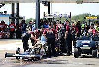 Sept. 22, 2012; Ennis, TX, USA: NHRA crew members for top fuel dragster driver Khalid Albalooshi during qualifying for the Fall Nationals at the Texas Motorplex. Mandatory Credit: Mark J. Rebilas-