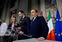 Roma, 12 Aprile 2018<br /> Silvio Berlusconi, Matteo Salvini, Giorgia Meloni<br /> Secondo giro di Consultazioni per la formazione del Governo