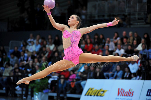 Silviya Miteva of Bulgaria performs in Event Finals at 2010 World Cup at Portimao, Portugal on March 14, 2010.  (Photo by Tom Theobald).