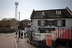 An exterior view of the ground and surrounding streets and the New Inn pub pictured before Brentford hosted Leeds United in an EFL Championship match at Griffin Park. Formed in 1889, Brentford have played their home games at Griffin Park since 1904, but are moving to a new purpose-built stadium nearby. The home team won this match by 2-0 watched by a crowd of 11,580.