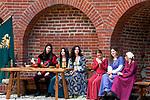 Mieszkanki Krakowa w strojach mieszczek krakowskich w Barbakanie<br /> Inhabitants of Cracow in dresses of townswomen during solemnity on the occasion 750 anniversary of location of city, Cracow, Poland