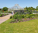 Royal Horticultural Society gardens at Hyde Hall, Essex, England, UK Global Growth Vegetable Garden pavilion