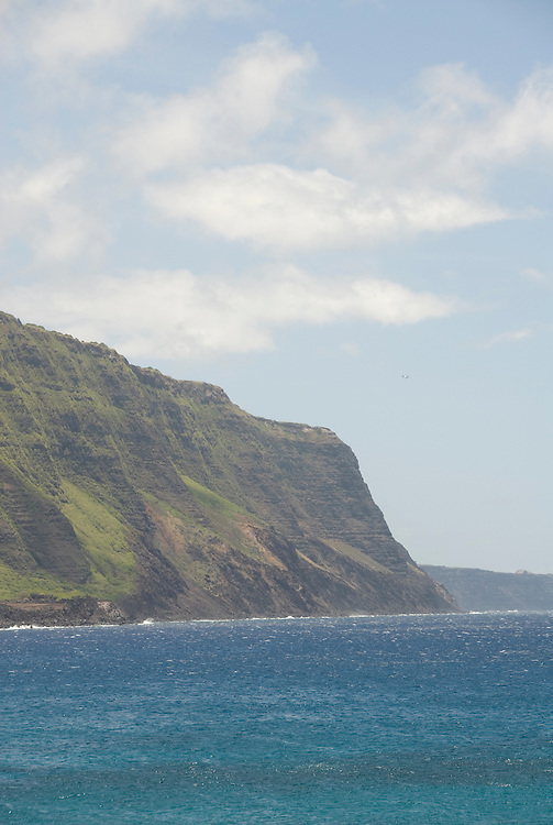 Hawaii: Molokai, scenic view of cliffs and ocean from Kalaupapa..Photo himolo123-71907..Photo copyright Lee Foster, www.fostertravel.com, lee@fostertravel.com, 510-549-2202