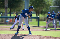 Los Angeles Dodgers relief pitcher Carlos Duran (35) looks in for the sign during an Instructional League game against the San Diego Padres at Camelback Ranch on September 25, 2018 in Glendale, Arizona. (Zachary Lucy/Four Seam Images)