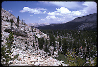 View from half way up Ragged Peak looking north across the High Sierras, Young Lakes, Yosemite National Park. View shot on Kodachrome II, Nikon Ftn camera, Nikkor 35mm f/2 lens 125th f/8, 1 August 1973