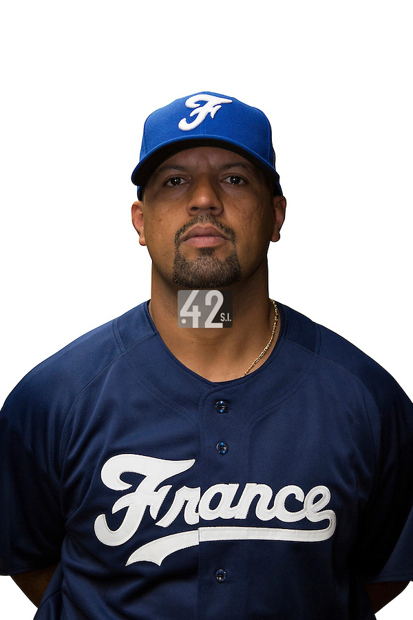 18 September 2012: Keino Perez poses prior to Team France practice, at the 2012 World Baseball Classic Qualifier round, in Jupiter, Florida, USA.