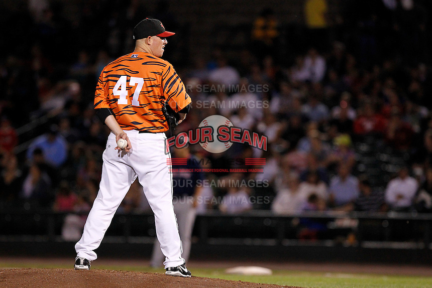 Rochester Red Wings pitcher Jake Stevens #47 during a game against the Pawtucket Red Sox at Frontier Field on August 30, 2011 in Rochester, New York.  Rochester defeated Pawtucket 8-6 as the team wore special jerseys to be auctioned off after the game to benefit the zoo.  (Mike Janes/Four Seam Images)