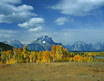 Mount Moran (12605 ft) and the Teton Mountain Range, Jackson Hole, Wyoming, USA. John offers private photo tours in Grand Teton National Park and throughout Wyoming and Colorado. Year-round.