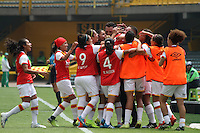 BOGOTA -COLOMBIA, 19-02-2017.Action game between  La Equidad and Independiente Santa Fe  during match for the date 1 of the Women´s  Aguila League I 2017 played at Nemesio Camacho El Campin stadium . Photo:VizzorImage / Felipe Caicedo  / Staff
