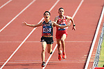(L-R) <br />  Hiroto Inoue (JPN), <br /> Elhassan Elabbassi (BRN), <br /> AUGUST 25, 2018 - Athletics - Marathon : <br /> Men's Marathon Final <br /> at Gelora Bung Karno Main Stadium <br /> during the 2018 Jakarta Palembang Asian Games <br /> in Jakarta, Indonesia. <br /> (Photo by Naoki Nishimura/AFLO SPORT)