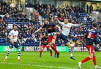 Preston North End's Graham Burke heads at goal under pressure from Doncaster Rovers' Tom Anderson<br /> <br /> Photographer Alex Dodd/CameraSport<br /> <br /> The Emirates FA Cup Third Round - Preston North End v Doncaster Rovers - Sunday 6th January 2019 - Deepdale Stadium - Preston<br />  <br /> World Copyright &copy; 2019 CameraSport. All rights reserved. 43 Linden Ave. Countesthorpe. Leicester. England. LE8 5PG - Tel: +44 (0) 116 277 4147 - admin@camerasport.com - www.camerasport.com