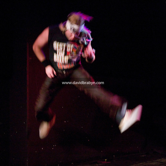 2 March 2006 - New York City, NY - David Katz, stage name Green Manalishi, performs on stage in an Air Guitar competition in New York City, USA, 2 March 2006.