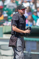 Home plate umpire Mike Rains during the game at San Manuel Stadium on April 11, 2018 in San Bernardino, California. The 66ers defeated the Nuts 7-0. (Donn Parris/Four Seam Images)