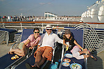 Adam Reist (Director of GL) and wife Dana and daughter Sasha - Day 1 July 31, 2010 - So Long Springfield at Sea - A Final Farewell To Guiding Light sets sail from NYC to St. John, New Brunwsick and Halifax, Nova Scotia from July 31 to August 5, 2010  aboard Carnival's Glory (Photos by Sue Coflin/Max Photos)