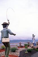 Campbellton, NB, New Brunswick, Canada - Large Wood Carving Sculptures of Sports Fisherman catching Atlantic Salmon