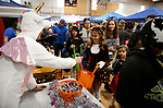 Valerie Cauhape, with the Adams Hub, hands out candy at the Carson City Boo-nanza event, in Carson City, Nev., on Tuesday, Oct. 30, 2018. <br /> Photo by Cathleen Allison/Nevada Momentum
