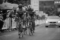 Tom Boonen (BEL) leading an elite group (of teammates) up to 3 minutes out of the peloton<br /> <br /> Belgian Championchips 2013