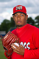Batavia Muckdogs pitcher Hector Hernandez #25 poses for a photo before the first day of practice for the start of the NY-Penn League at the Dwyer Stadium in Batavia, New York;  June 13, 2011.  (Mike Janes/Four Seam Images)