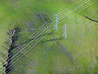 aerial photograph electrical transmission towers Sonoma County, California