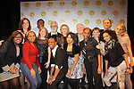 Opening Act proudly presents a play reading to benefit theater in NYC schools as Cynthia Nixon and John Slattery and 2010 Opening Act Scholars: (L to R: Yunen Buduan, Madeline Canales, Smara Graham, Donovan Swanson, Tysheema Doss, Megan Marte and Stephanie Phanor) star in the quirky comedy Hate Mail on December 6, 2010 at New World Stages, New York City, New York. Also performing were Margaret Galarza and Calvin Stevin. (Photo by Sue Cofllin/Max Photos)