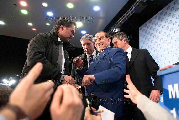 Milano, Fiera Milano City, campagna elettorale 2013.Comizio di Silvio Berlusconi e Roberto Maroni