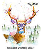 Interlitho-Isabella, REALISTIC ANIMALS, REALISTISCHE TIERE, ANIMALES REALISTICOS, paintings+++++,deer,KL4581,#a#, EVERYDAY