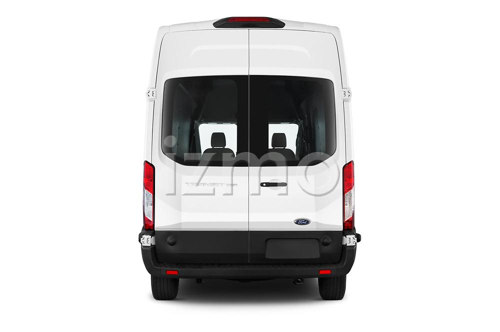 Straight rear view of 2019 Ford Transit-Van - 4 Door Cargo Van Rear View  stock images