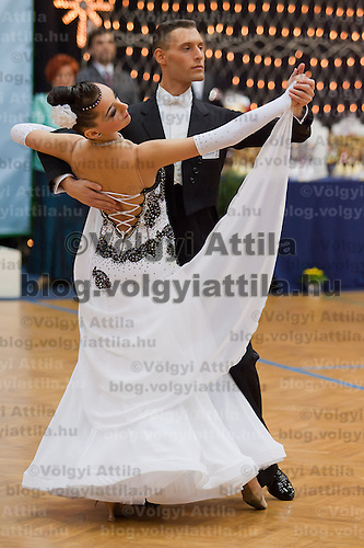 Jozsef Szepesi and Bettina Farkas perform their dance during the Ballroom Hungarian Championships held in Budapest, Hungary. Saturday, 05. February 2011. ATTILA VOLGYI