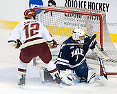 Ryan Rondeau (Yale - 1) makes the save on Ben Smith (BC - 12). - The Boston College Eagles defeated the Yale University Bulldogs 9-7 in the Northeast Regional final on Sunday, March 28, 2010, at the DCU Center in Worcester, Massachusetts.
