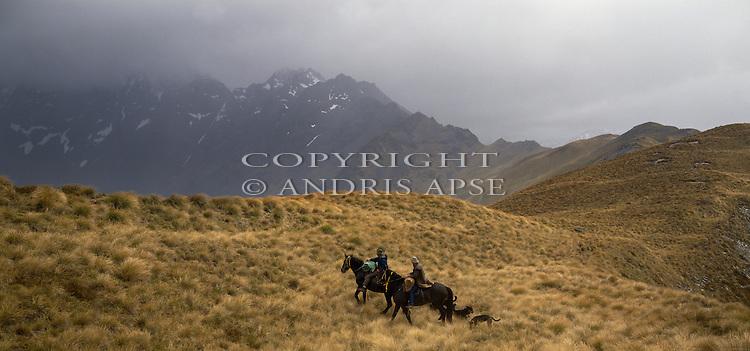 Horsemen with dogs on Birchwood Station. Otago Region. New Zealand.