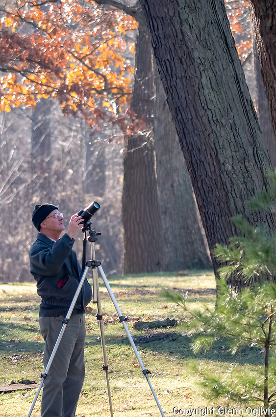 Herman Giethoorn, of Wallaceburg belongs to three local camera clubs, including Sarnia's Photo Club and is a member of the Sydenham Field Naturalist. <br /> He was visiting Sarnia to photograph the annual bird migration and is seen taking pictures of an Eastern Canada stretch owl.