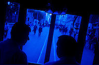 ISTANBUL - MAY 26, 2007:   People ride the tram in Taksim in Istanbul, Turkey. Photo by Landon Nordeman.