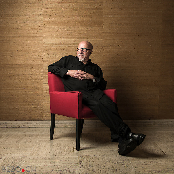 Brasilian writer Paulo Coelho photographed in the building where he lives in Geneva, Switzerland. CREDIT: Niels Ackermann / Rezo.ch for The Wall Street Journal